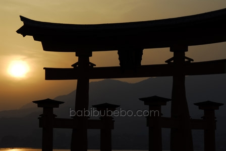 Miyajima Itsukushima Shrine Tori Gate Sunset