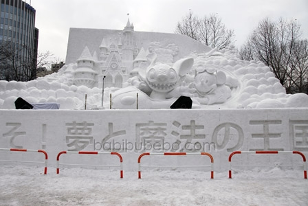 Sapporo Snow Festival Stich and Mickey Mouse